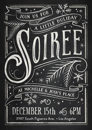 digital invitations - Holiday Soiree by GeekInk Design