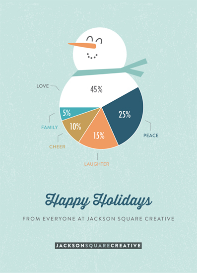 Business holiday cards snowman pie chart by chelsey scott