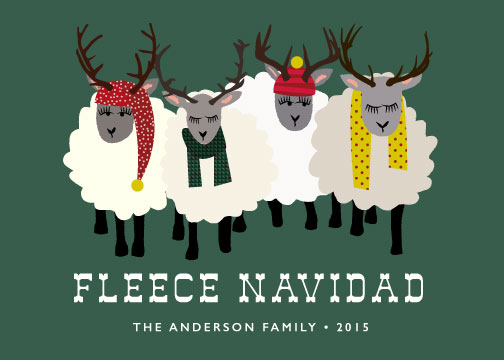non-photo holiday cards - Fleece Navidad by 24th and Dune