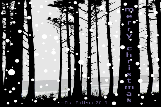 non-photo holiday cards - happy holidays snow through the trees by L. Manas