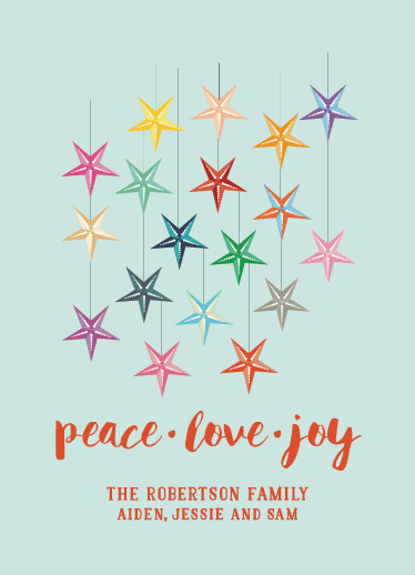 non-photo holiday cards - Hanging Stars by Rosewater Designs