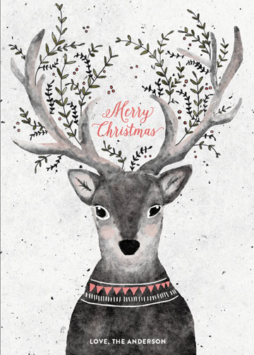 non-photo holiday cards - reindeer love by Cass Loh