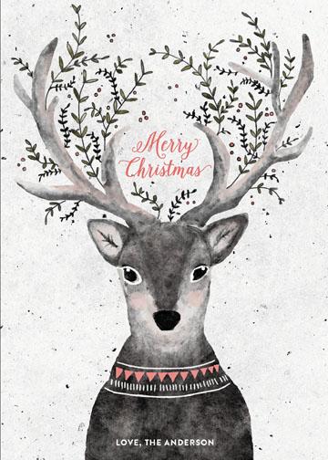 minted reindeer love christmas card