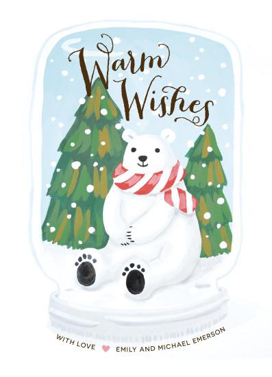 non-photo holiday cards - Polar Bear Snow globe by Four Wet Feet Studio