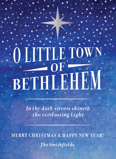 non-photo holiday cards - O Little Town of Bethlehem by Brittany Jamison