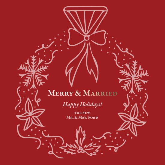 non-photo holiday cards - Merry & Married Happy Holidays by Brittany Jamison