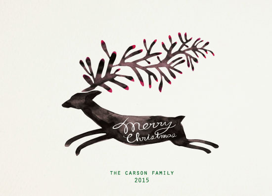 non-photo holiday cards - christmas deer by Meishu Ke