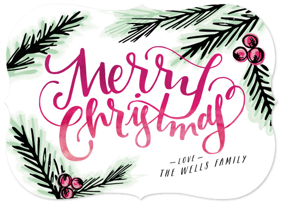 non-photo holiday cards - Watercolor Pine by Makewells