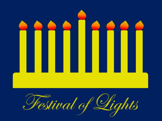 non-photo holiday cards - Festival of Lights Shines Bright by Up The Creek Press