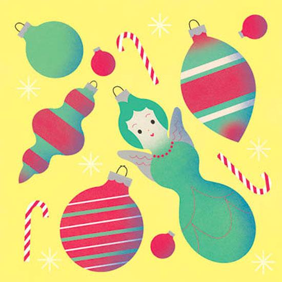 non-photo holiday cards - nostalgic ornaments by Sidney Masuga