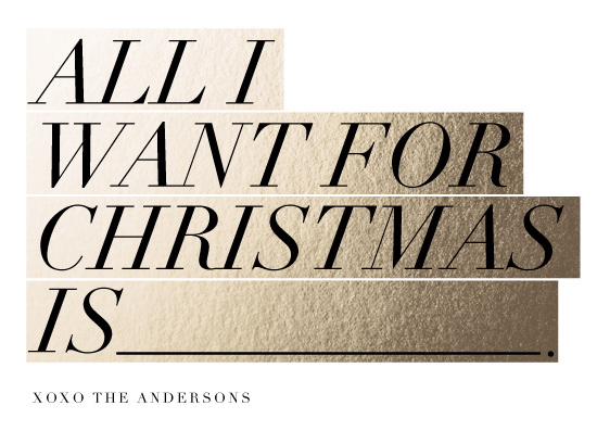 non-photo holiday cards - All I want is by Magdalena Earnest