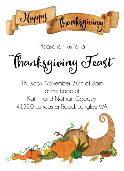 digital invitations - Thanksgiving Cornucopia by Kaitlin Goodey