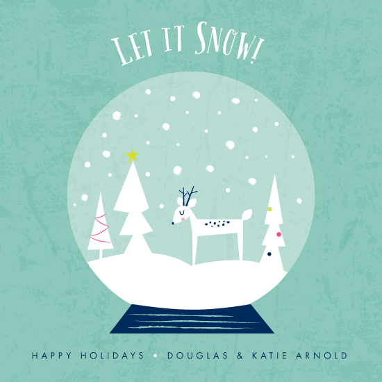 non-photo holiday cards - Let it snow globe by Shannon Hays