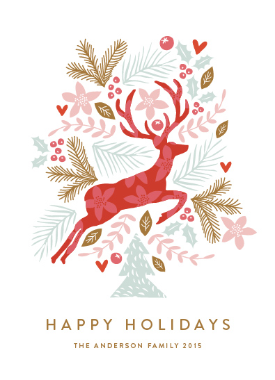 non-photo holiday cards - Jumping Reindeer by Phrosne Ras