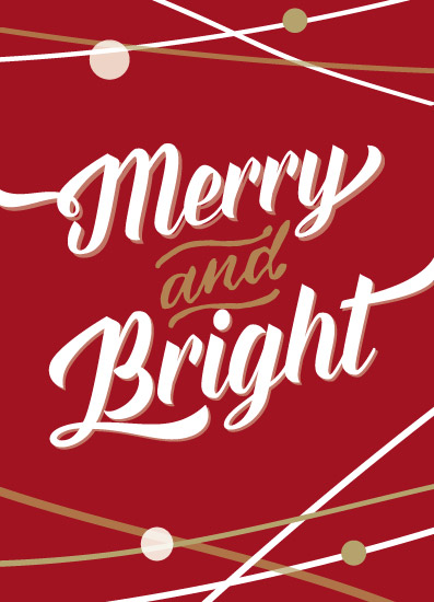 non-photo holiday cards - Merry Bright by Honey Madison