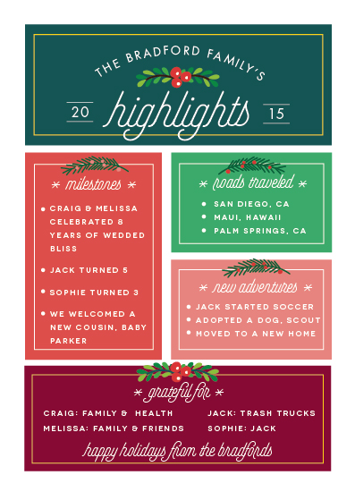 non-photo holiday cards - highlights of 2015 by Shirley Lin Schneider