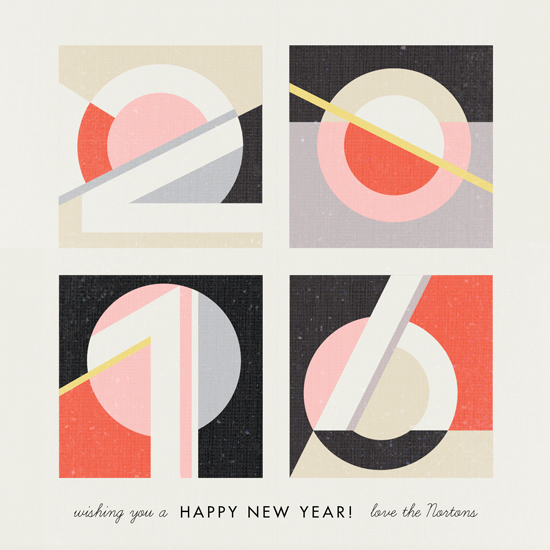 non-photo holiday cards - Geometric Numerals by Kelly Schmidt