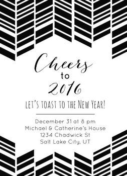 Cheers! Modern Herringbone New Year Invitation