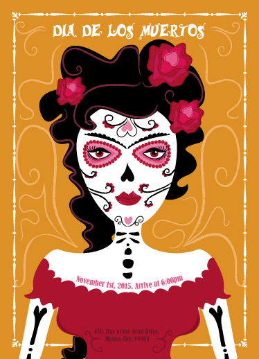 digital invitations - Mexican Day of the Dead by Emma Whitelaw