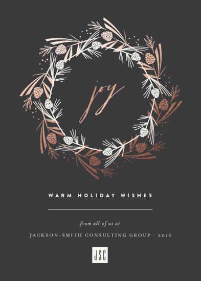 business holiday cards - Pine Cone Joyous Wreath by fatfatin