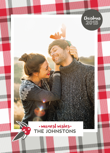 holiday photo cards - Flannel Warmest Wishes by Vanessa Wyler