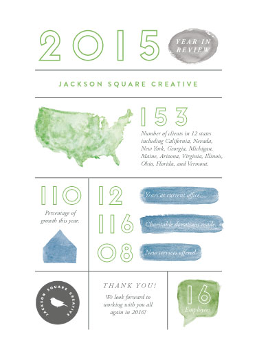 business holiday cards - Watercolor Stats by Smudge Design
