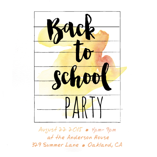 digital invitations - Watercolor Back To School by Amanda Majorsky