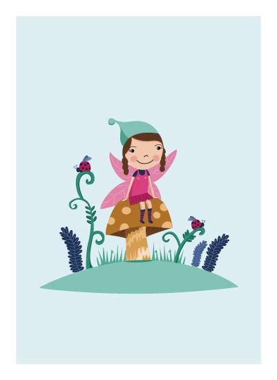 art prints - Fairy on a toadstool by Emma Whitelaw