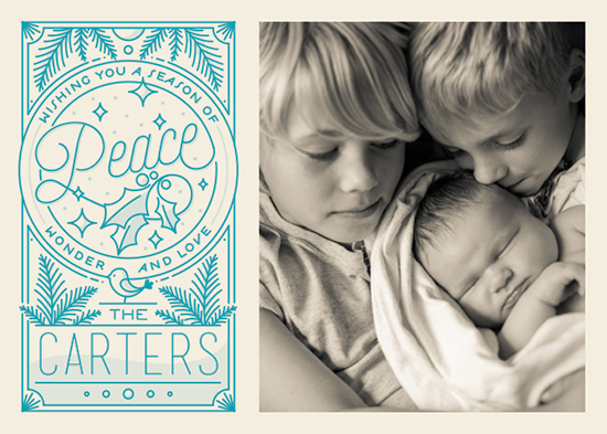 holiday photo cards - Peace Wonder Love by GeekInk Design