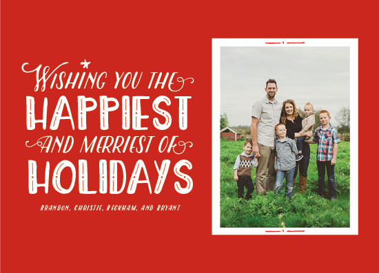 holiday photo cards - Happiest and Merriest by Paperful Press