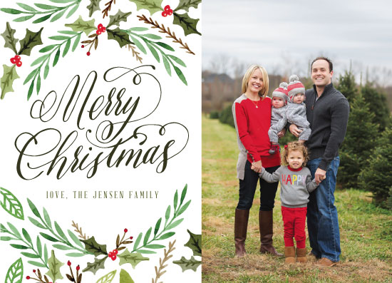 holiday photo cards - Watercolor Winter Sprigs by Erin NIelson