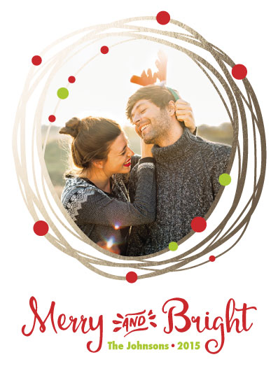 holiday photo cards - Merry and Bright Gold Wreath by Alyssa Bennett