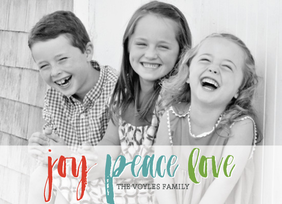 holiday photo cards - Joy Peace Love Banner by Lauren Young