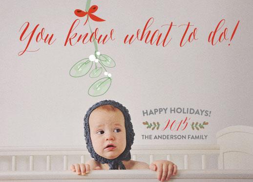 holiday photo cards - Mistletoe kiss by Elizabeth Bright