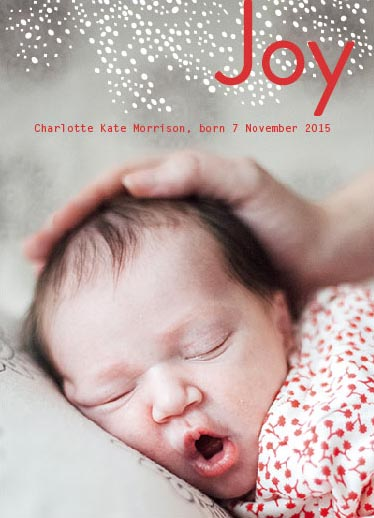 holiday photo cards - Holiday Joy Birth Announcement by Khana Design