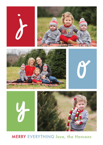 holiday photo cards - Colorblock of Joy by Green Fingerprint