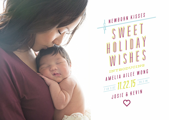 holiday photo cards - Newborn kisses by Ling Wang