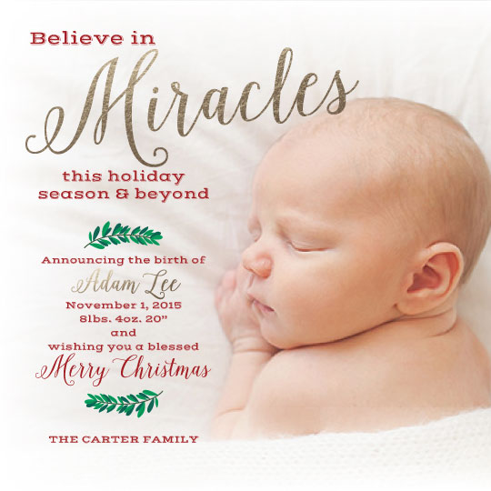 holiday photo cards - Believe in Miracles by April Lammers