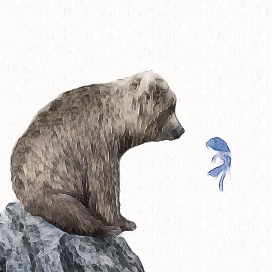 art prints - Blue Fish Wish by Maja Cunningham