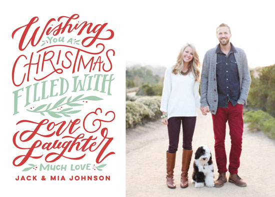 holiday photo cards - A Christmas of Love & Laughter by Wildfield Paper Co.