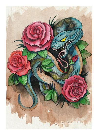 art prints - Snake and Roses by Thavysak Chareunsri