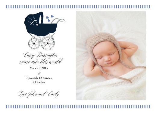holiday photo cards - Baby Boy Carriage by Nancy Jeanne Morlino