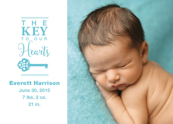 holiday photo cards - Key Birth Announcement by Kristin Modjeska-Holt