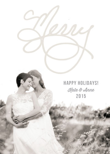 holiday photo cards - Hand Letterd Merry by Melissa Casey