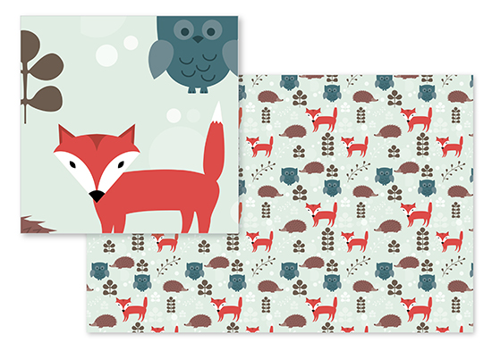fabric - Woodland Creatures by Neeti Kapadia