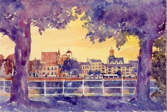 art prints - Frankfurt in the sunset by Jarey Lu