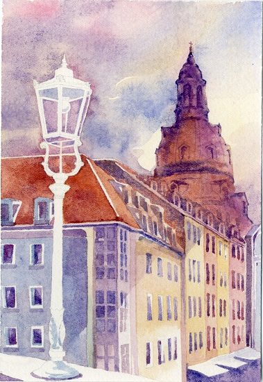 art prints - Dresden Frauenkirche at sunset by Jarey Lu
