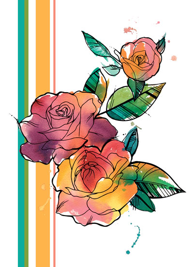 art prints - Retro Watercolor Roses by Deanna Wardin