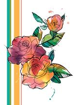 Retro Watercolor Roses by Deanna Wardin