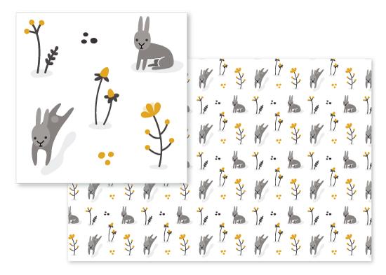 fabric - wild rabbits by Katerina Richard